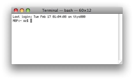 Mac Terminal - Eingabeaufforderung