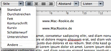 Mac TextEdit - Stilwahl