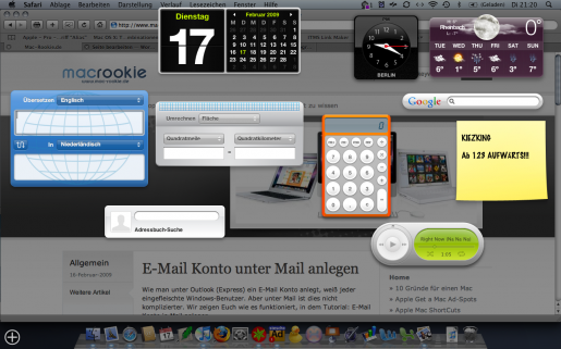Mac Dashboard mit Widgets