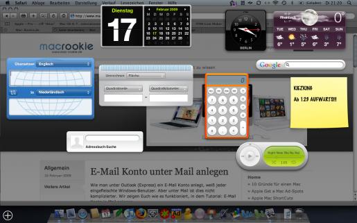 Mac Dashboard mit Widgets