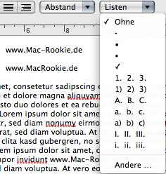 Mac TextEdit - Listen