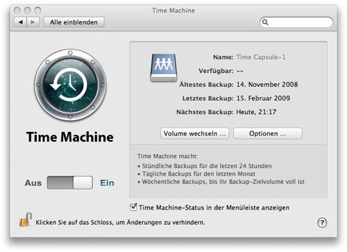 Time Machine - Aktivieren