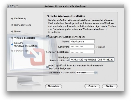 VMWare Fusion - Konfiguration Windows
