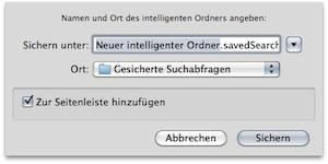 Mac OS Intelligenter Ordner - Speicherort und Name