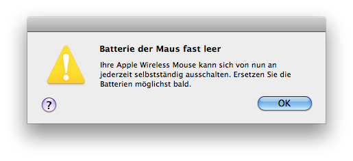 Batterie der Magic Mouse fast leer