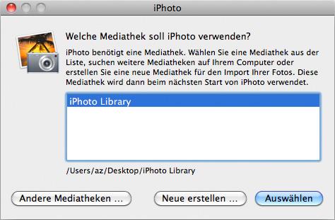 iPhoto Speicherort Mediathek ändern