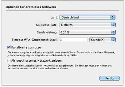 Optionen für Drahloses Netzwerk - Multicast-Rate
