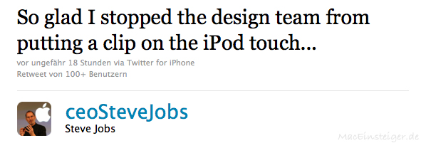 So glad I stopped the design team from putting a clip on the iPod touch...