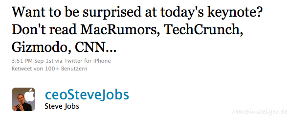 Want to be surprised at today's keynote? Don't read MacRumors, TechCrunch, Gizmodo, CNN...