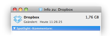 Mac OS Dropbox-Ordner mit Icon