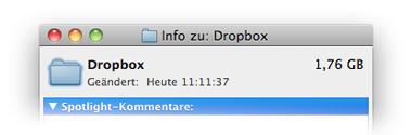 Mac OS Dropbox-Ordner Info