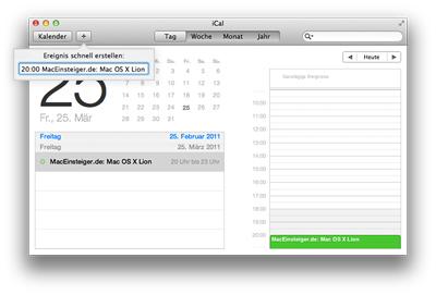 Mac OS X Lion - Termin erstellen