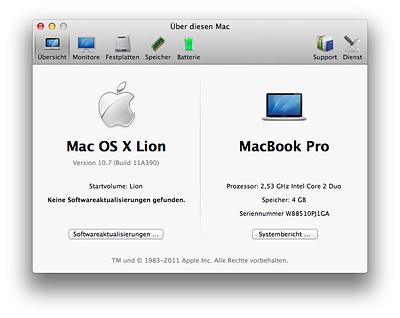 Mac OS X Lion - Über diesen Mac Übersicht