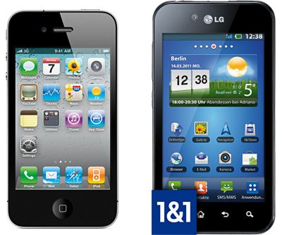 1&1 macht den Smartphone-Test - iPhone 4, LG Optimus Black