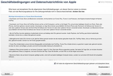 Geschäftsbedingungen und Datenschutzrichtlinie von Apple