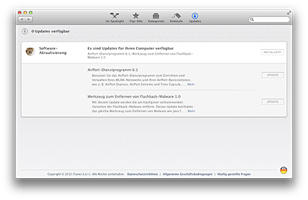 Mountain Lion App Store Softwareaktualisierung
