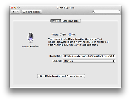 Mountain Lion Diktierfunktion aktivieren