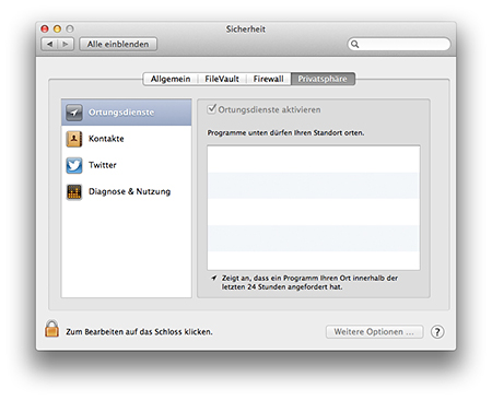 Mountain Lion Privatsphäre Ortung