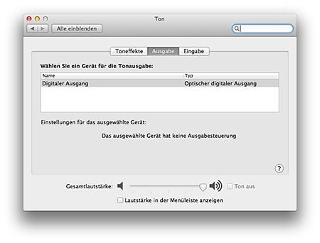 Mac Tonausgabe - optisch, digital