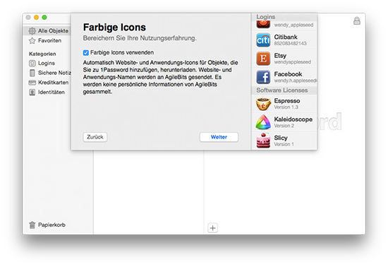 1Password - Farbige Icons