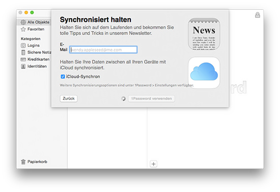1Password - iCloud Synchronisation