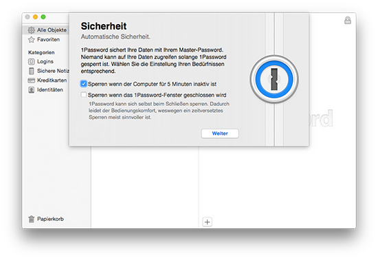 1Password - Tresor sperren