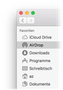 AirDrop in Finder Seitenleiste