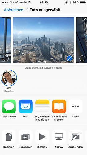 AirDrop Daten senden vom iPhone