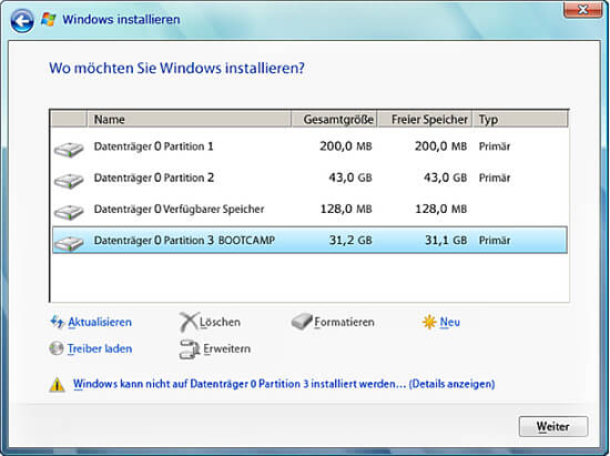 Boot Camp - Windows Setup Installationsort wählen