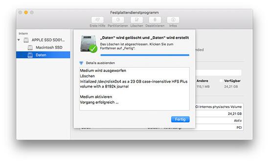 Festplattendienstprogramm - Partition Formatieren