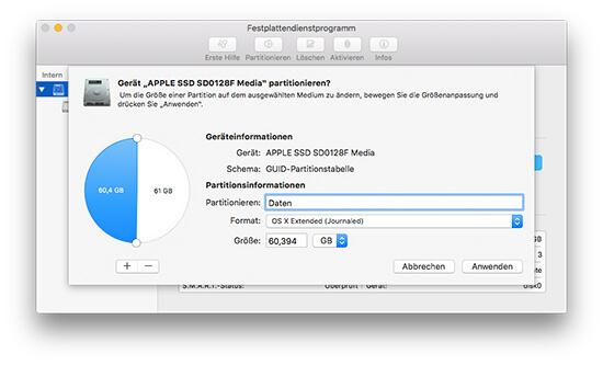 Festplattendienstprogramm - Partition hinzufügen