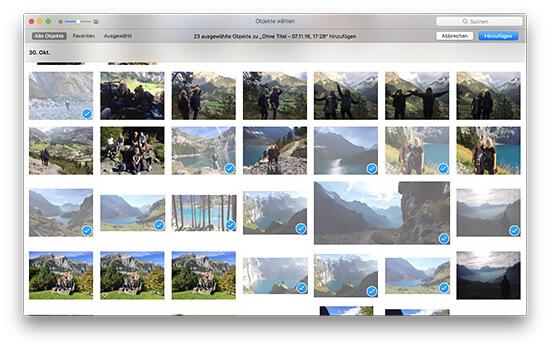 Fotobuch - Fotos auswählen und hinzufügen