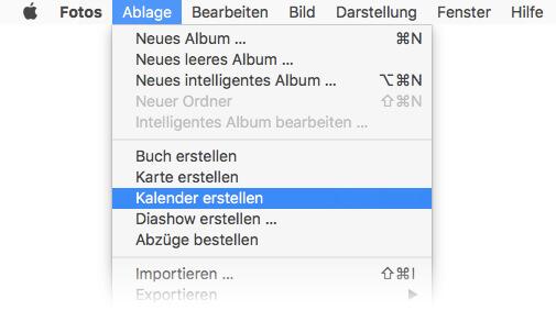 Fotokalender erstellen am Mac