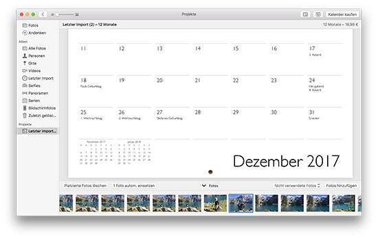 Fotokalender - Feiertage und Geburtstage