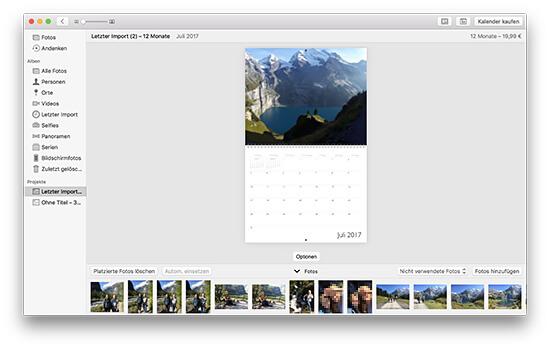 Fotokalender - Monatsansicht