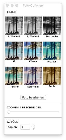 Fotos-App - Foto-Optionen