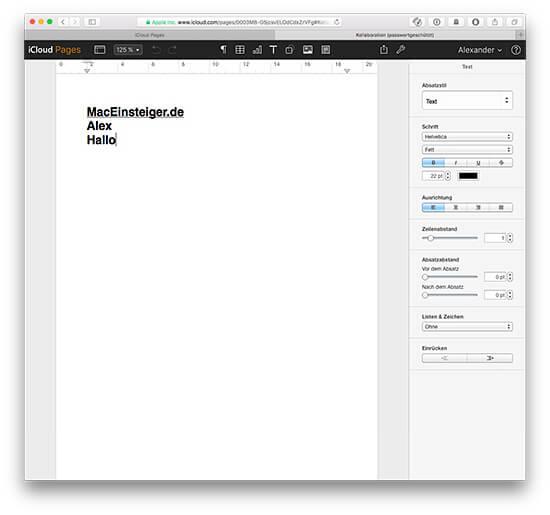 iCloud iWork Dokument