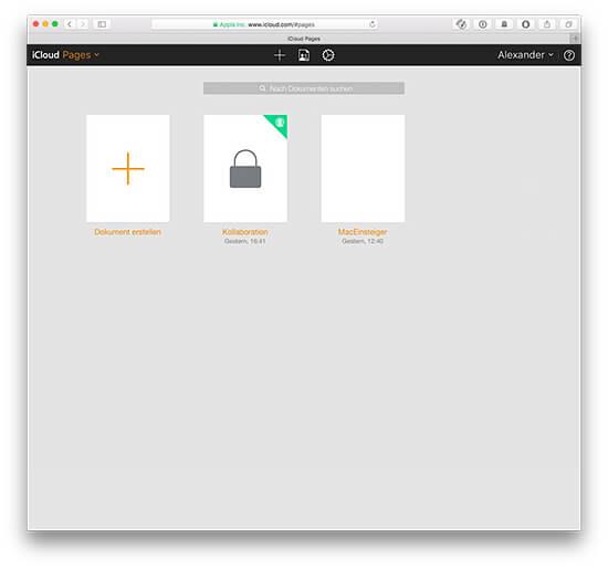 iCloud iWork Dokumente