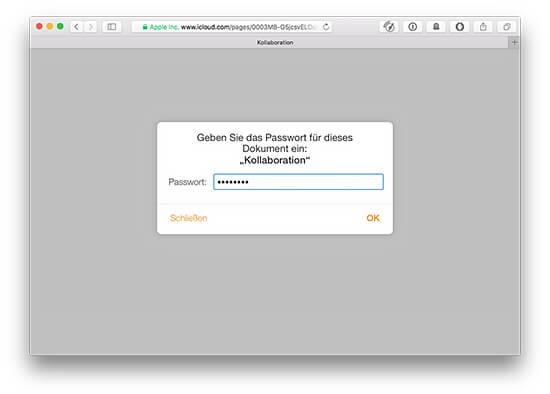 iWork Dokument Passwortschutz