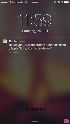 iOS Karte Route empfangen