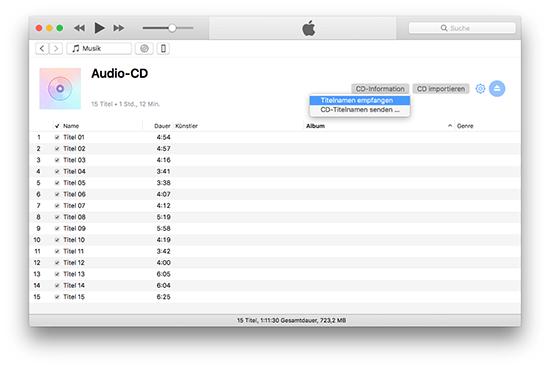iTunes Audio-CD Titel empfangen