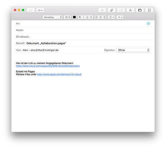 iWork Dokument Mail Einladung