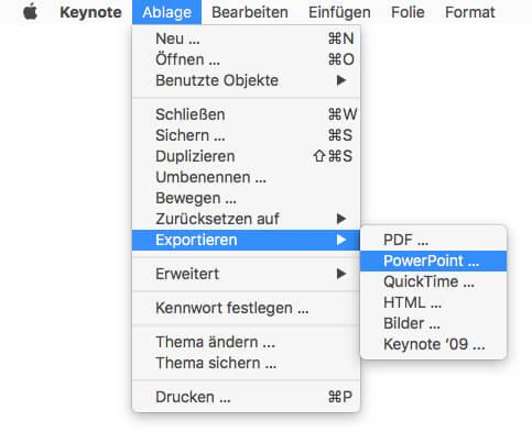 Keynote PowerPoint Export