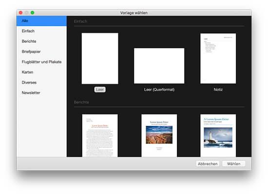 iWork Pages - Themenauswahl für Neues Dokument