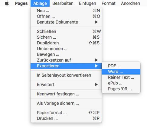 iWork Pages - als Word speichern