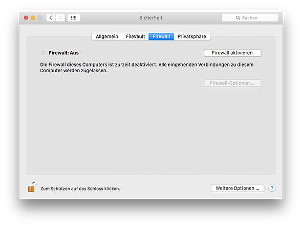 Mac Firewall aktivieren