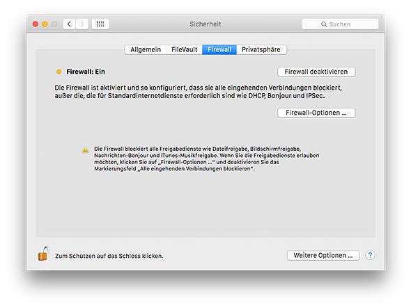 Mac Firewall - gelber Indikater