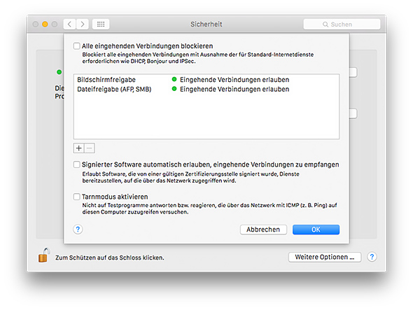 Mac Firewall konfigurieren