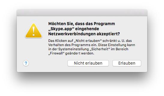 Mac Firewall - Eingehende Netzwerkverbindung