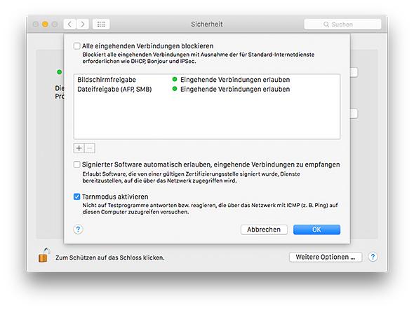 Mac Firewall - Tarnmodus
